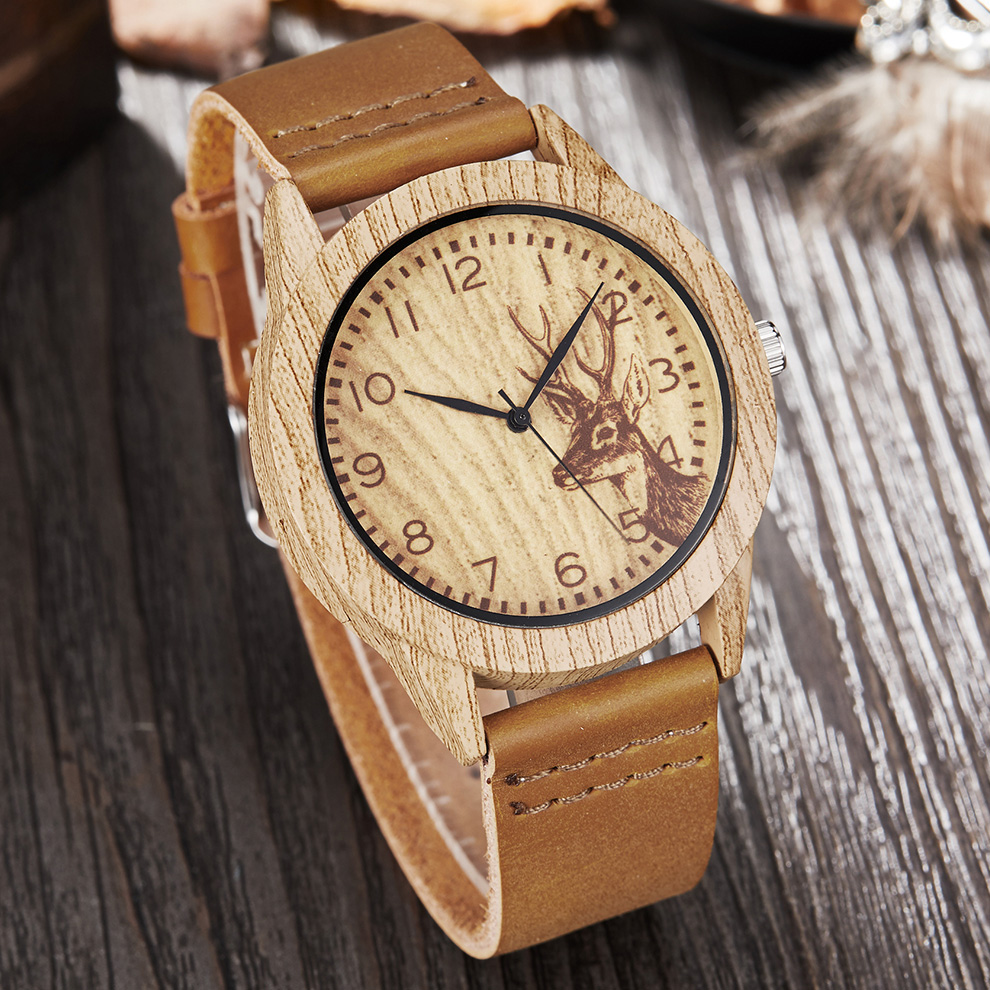 Imitate Deer Wood Watch Men Women Imitation Wooden Watch Ostrich Man Wristwatch Soft Leather Band Male Quartz Wrist Clock Reloj