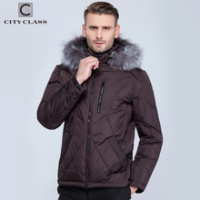 CITY CLASS Mens Winter Jackets And Coats Casual Short Isosoft Stand collar Removable Silver Fox Hat Outwear Free Shipping 14353