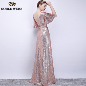 Image 5 - Noble weiss elegante rosa lantejoulas vestidos de baile 2019 sexy com decote em v longo vestido de festa para vestidos de festa africano pageant wear