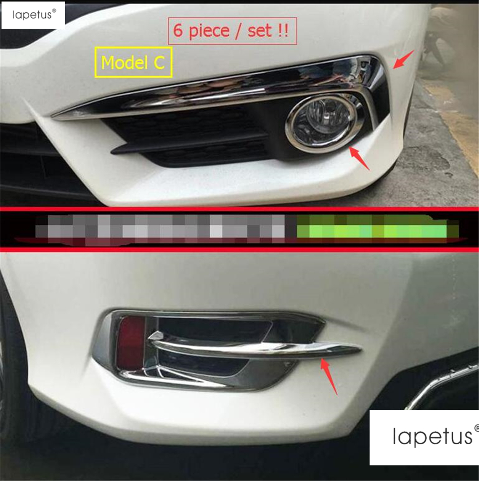 Accessories For Honda Civic 2016 2017 Front Fog Lamp Light Ring Eyebrow Eyelid Rear Fog Lamp Light Molding Cover Kit Trim