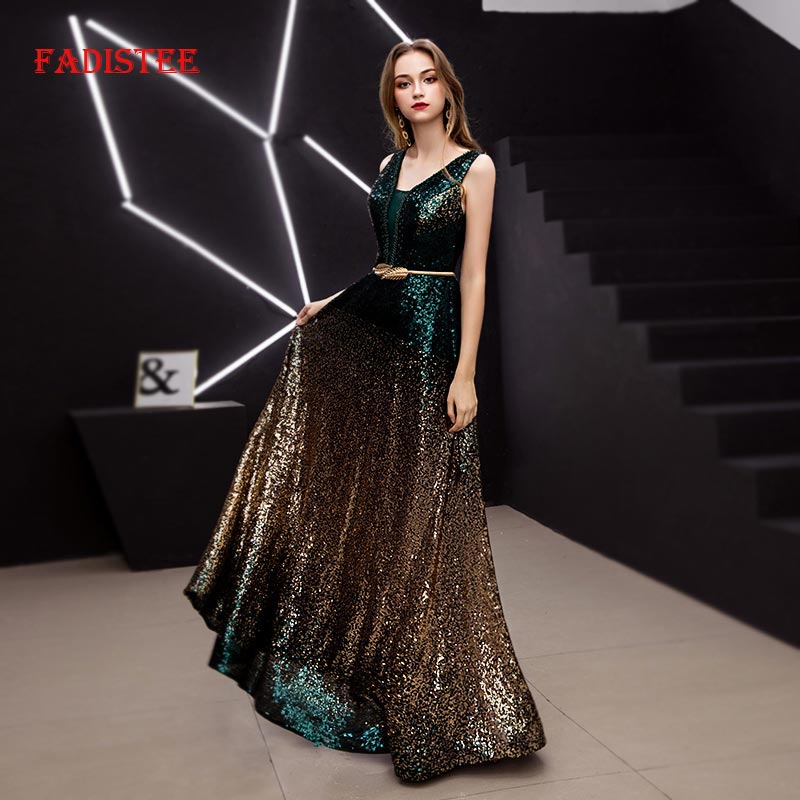 FADISTEE elegant party   dress     Prom     Dresses   Long   dress   Vestido de Festa A-line sequins sexy Multicolor V-neck evening formal gown