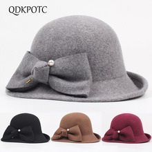 QDKPOTC 2018 New Fashion Fedoras Womens Wide brim Dome Butterfly Pearl 100% Wool Cap Casual Hat