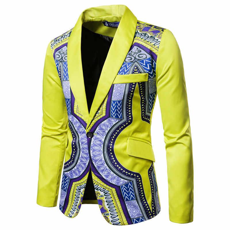 African Dashiki Drucken Anzug Blazer Männer 2018 Marke Neue Einreiher Anzug Jacke Männer Casual Hochzeit Kleid Blazer für männer