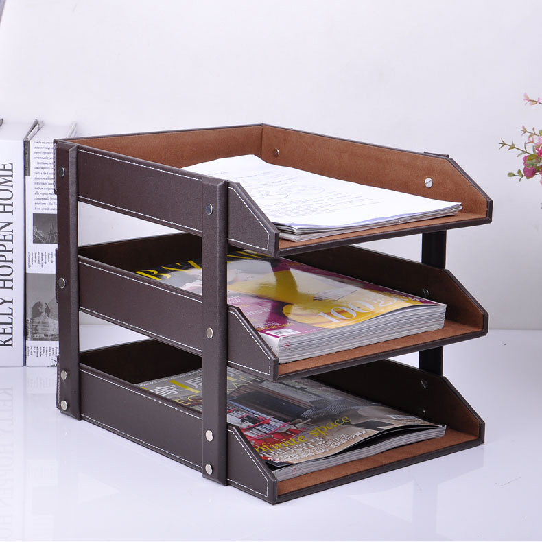 3 layer detachable wood leather desk filing tray box office organizer case document container brown 211A