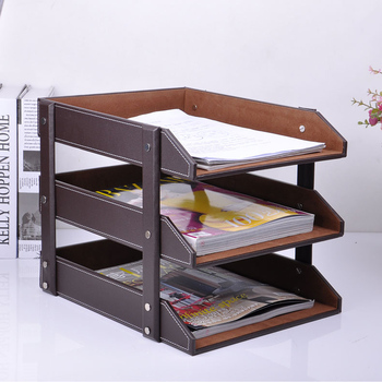 3-layer detachable wood leather desk filing tray box office organizer case document container   brown  211A