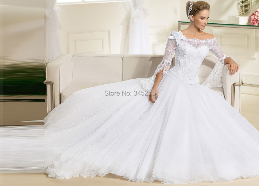 Custom Made Scalloped Neckline Tulle Bell Types Floor