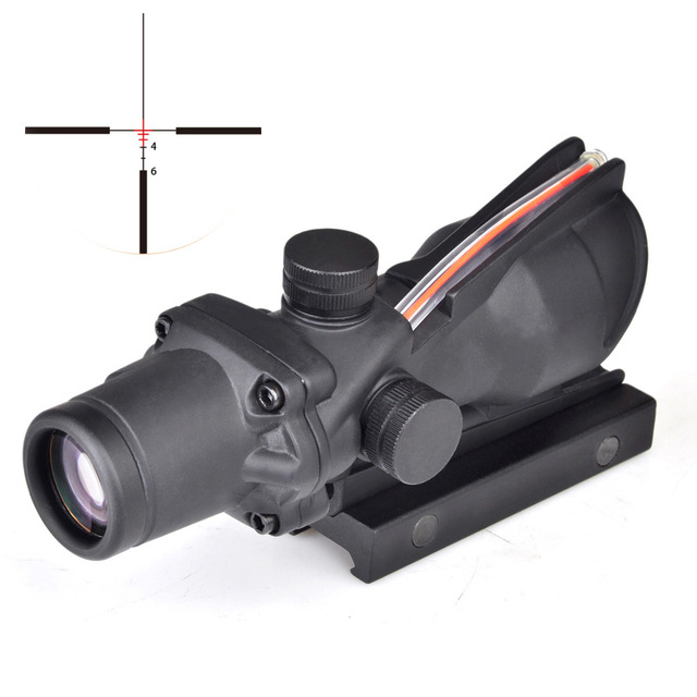 ACOG 4x32 Tactical Hunting Rifle Scope Optic Gun Sight Airsoft Scope Real Green Red Fiber Riflescope For Shooting Shotgun Rifle t eagle 6 24x50 sffle riflescope side foucs rifle scope with spirit level tactical long range rifles airsoft air gun