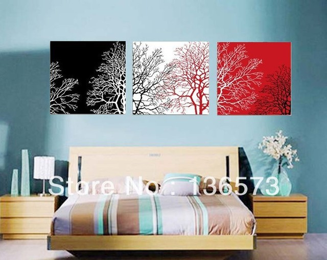 3 piece wall art sets handmade modern abstract still life black white red tree canvas painting