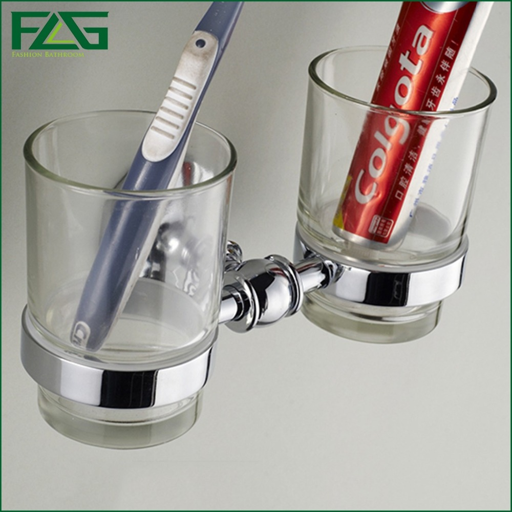 ФОТО FLG Bathroom Accessories Chrome Polished Wall Mounted Brass Double Frosted Glass Cup Zinc-Alloy Toothbrush Tumbler Holder G1181