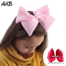 AHB 8 Inch Solid Large Hair Bows for Girls Clips Ribbon Bowknot Hairgrips Handmade Kids Hairpin Party Accessories