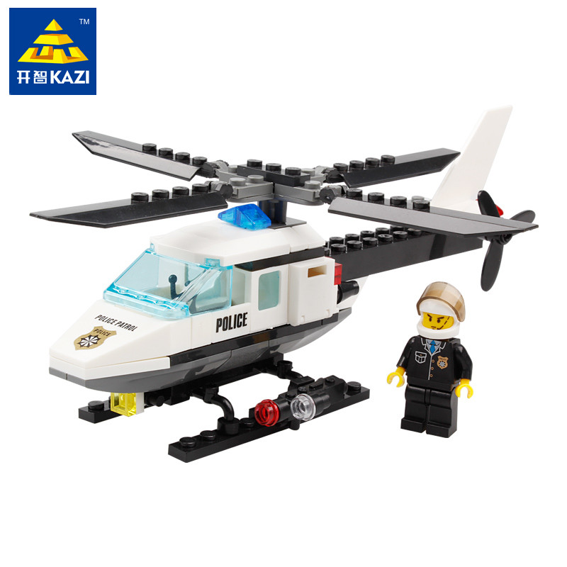 цена на KAZI 102pcs City Police Helicopter Plane Building Blocks Toys for Children Kids Educational DIY Bricks Assembling Blocks Gift