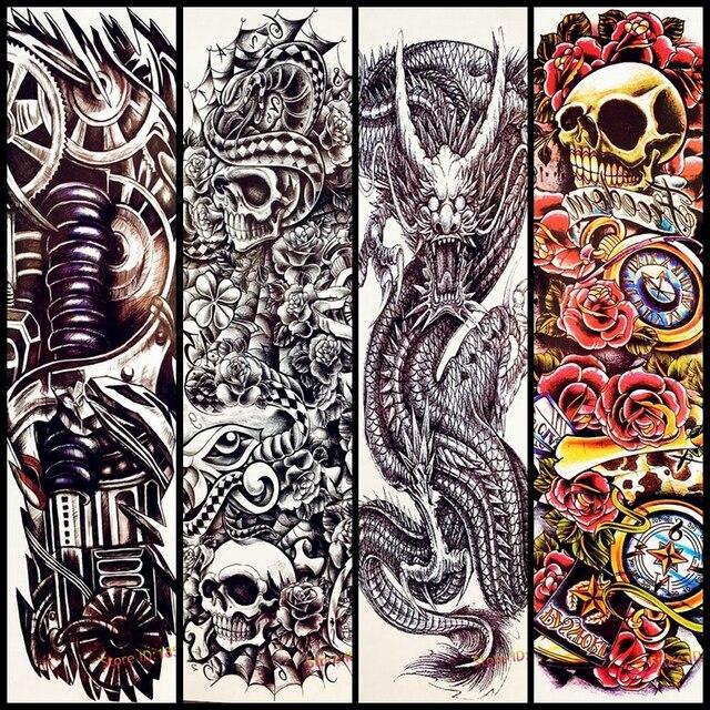 Skull Rose Flower Design Big Body Arm Tattoo Sleeve For Women Men