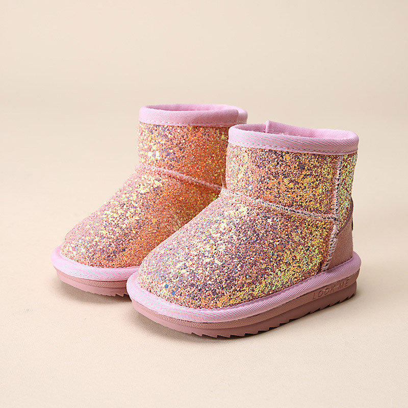 Fashion bling baby girls winter rubber boots snow boot for girls children winter shoes with fur
