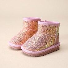 Модные блестящие для маленьких девочек зимние ботинки на резиновой подошве зимние ботинки для девочек Детское хлопковое вечернее платье в горошек, 15F обувь с мехом для маленьких девочек обувь