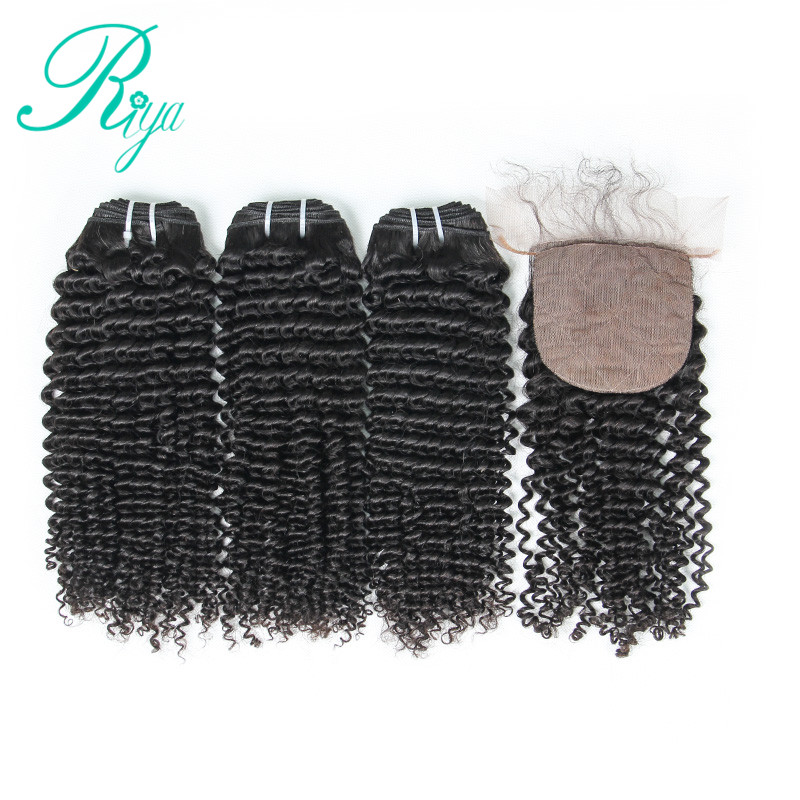 Riya Hair Kinky Curly Brazilian 100% Human Hair 3 / 4 Wave bundles with 4*4 Silk Base lace Closure Remy Hair Extension