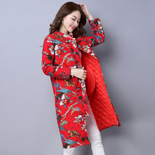 Plus Size Autumn Winter Coat Women Ethnic Style Flower Jacket&Coat Thick Warm Cotton Padded Clothing Long Sleeveless Coat MY0028