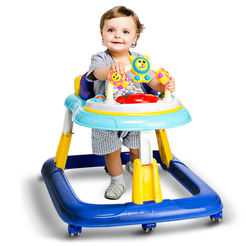 New Arrival Baby Walker Multifunctional Baby Rollover Prevention Folding Easy Safety Large Chassi Baby Andador With Music Plate прогулочные коляски baby design walker lite