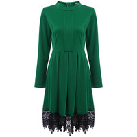 Women Spring Fall Elegant Old Classical A Line Round Collar Long Sleeve Lace Spliced Pure Color