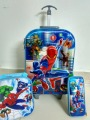 Promotion 3D kids trolley suitcase  boys spiderman  design luggage sets (lunch box + pen boxes+trolley luggage )