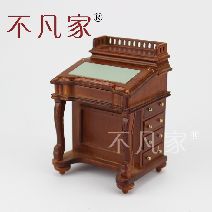 Dolls house 1/12 scale miniature furniture Handmade Gorgeous writing table miniature dollhouse on table 1 12 scale house shape showcase