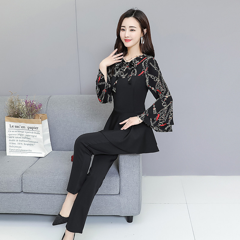 Black Elegant Printed Two Piece Sets Women Flare Sleeve Tunic Tops And Pants Suits Sets OL Style Casual Women's Sets Costumes 38