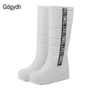 Image 3 - Gdgydh Winter Women Shoes Knee high Boots Female Elevator Flat Thermal Velvet Snow Boots Platform Cotton padded Shoes Size 34 43
