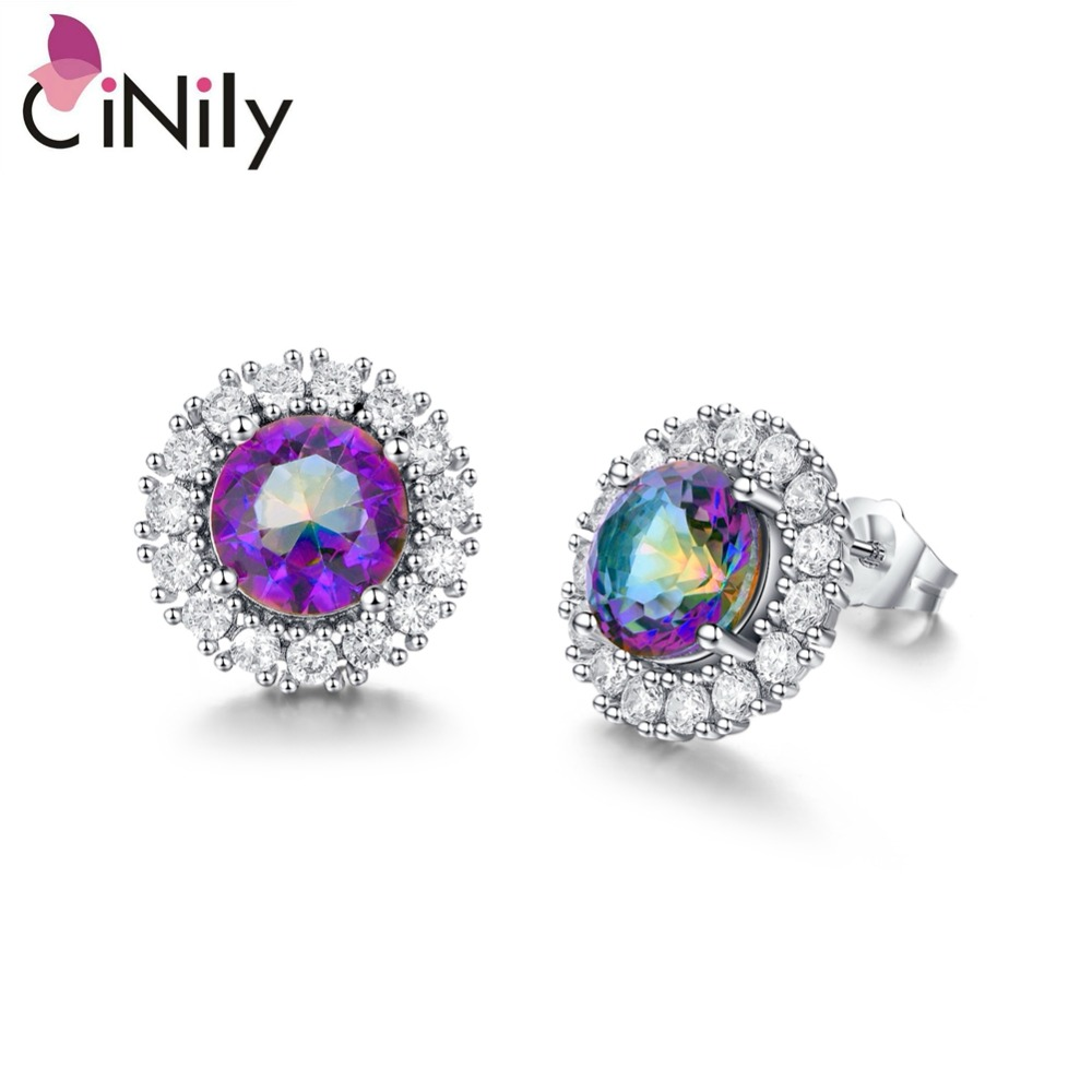 CiNily Mystic Zircon Cubic Zirconia Silver Plated Earrings Wholesale Hot Sell for Women Jewelry Stud Earrings 14mm OH3455
