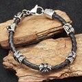 Moda vintage cruz punky de moda personalizada pulsera de cuero genuino para los hombres y mujeres de acero inoxidable de La Joyería