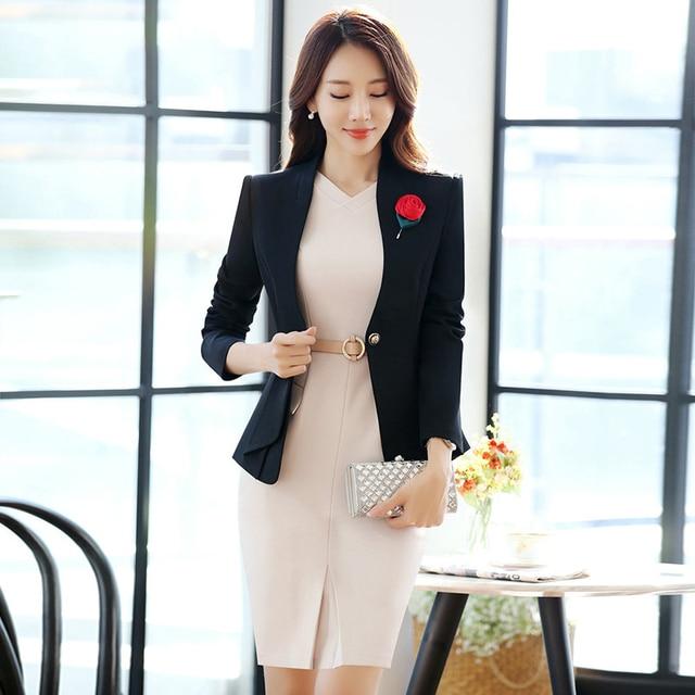 Black Professional Women Suits Formal Blazers Autumn Business Ladies