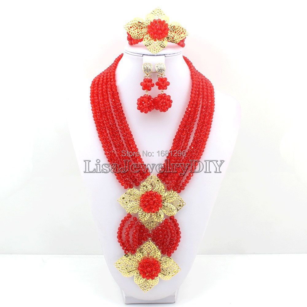 Fabulous! Red Crystal Costume Necklaces Nigerian Wedding African Beads Jewelry Set HD0465