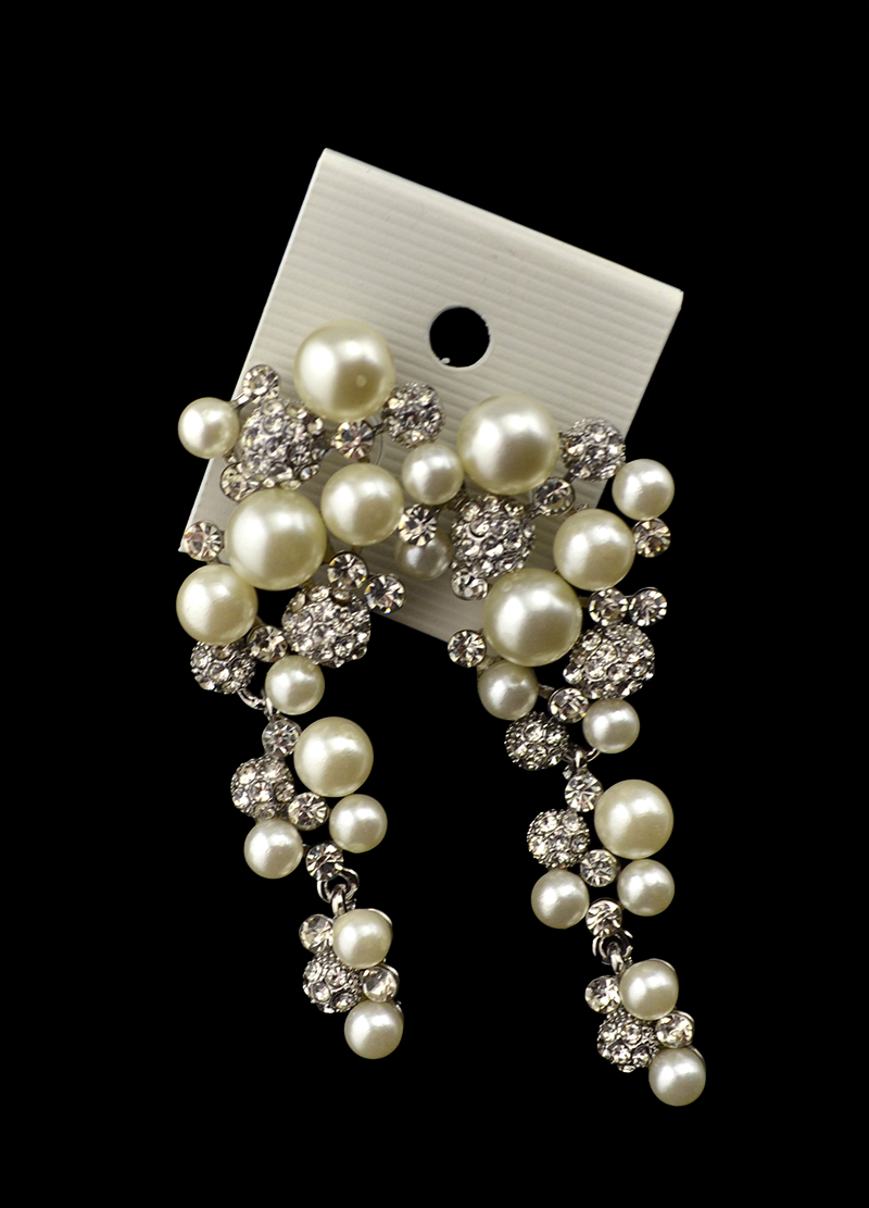 Vintage Exaggerated Bridal Long Drop Pearl Earrings Luxury Rhinestone Paved Dangle  Earrings For Wedding Brides Jewelry