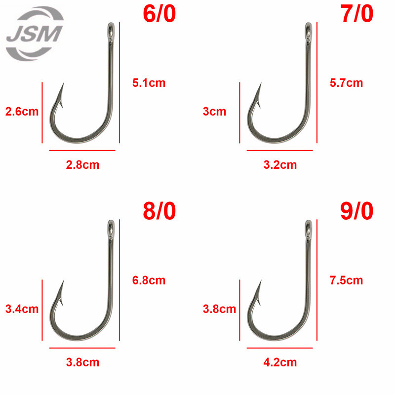 ALI shop ...  ... 910265647 ... 2 ... JSM 5pcs 7691 Stainless Steel Big Game Fishing Hooks Fish Tuna Bait Fishhooks Large hook Size 6/0-13/0 ...