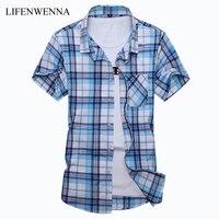 Плюс Размеры M-7XLNew Летняя мода Для мужчин рубашка Slim Fit Для мужчин короткий рукав рубашки в клетку Для мужчин S одежда тенденция Повседневное ...