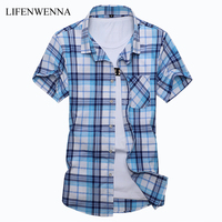 Plus Size M 7XLNew Summer Fashion Men S Shirt Slim Fit Men Short Sleeve Plaid Shirts