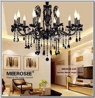HOT! French Style Crystal Chandelier Lighting Fixture Vintage Black Wrought Iron Chandelier Suspension Hanging Lamp Light