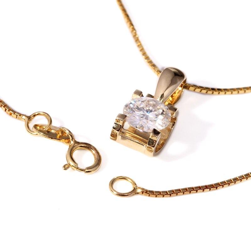 Queen Brilliance Genuine 18K 750 Yellow Gold AMAZING 1 Carat ct F Color Lab Grown Moissanite Diamond Pendant Necklace For Women jinhui 18k 750 0 05 ct jh bs1380