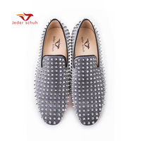 Handmade Men Velvet Shoes With Black Rivets Fashion Party And Wedding Men Loafers Italian Style Smoking