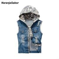 NaranjaSabor 2017 Spring Mens Denim Vests Camouflage Hooded Casual Jeans Jackets Sleeveless Coats Waistcoat Mens Brand