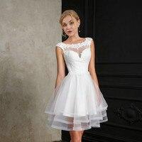 New Short Wedding Dress 2019 Bride Dress Scoop Cap Sleeves Mini Lace Applique Layers Ruffle Fluffy Bridal Dress vestido de noiva