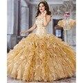 Ouro vestidos Quinceanera com Jacket 2 peça Vestido De Debutante pará 15 anos Lace Ruffles Debutante 15 anos doce 16 Vestido