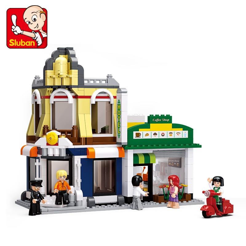 SLUBAN City Large Scene Cafe Hotel Villas Building Blocks Sets Doll House Bricks Model Kids Children gifts Toys Compatible Legoe kingsley amis riverside villas murder