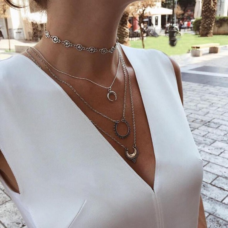 Tocona Fashion Boho Sun Pendants Charming Crystal Choker Necklace Silver Long Chain Necklace Women Jewelry Collares Femme 3625