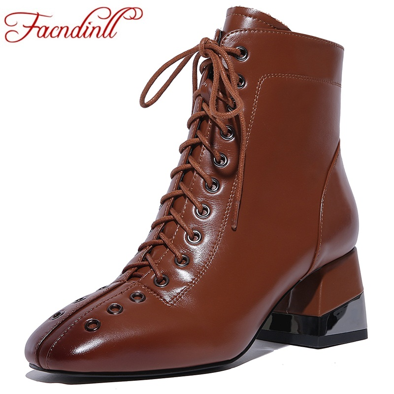 FACNDINLL shoes 2017 new fashion ankle boots for women shoes genuine leather high heels rome style woman motorcycle riding boots facndinll women ankle boots new fashion autumn winter genuine leather high heels lace up shoes woman dress party short boots