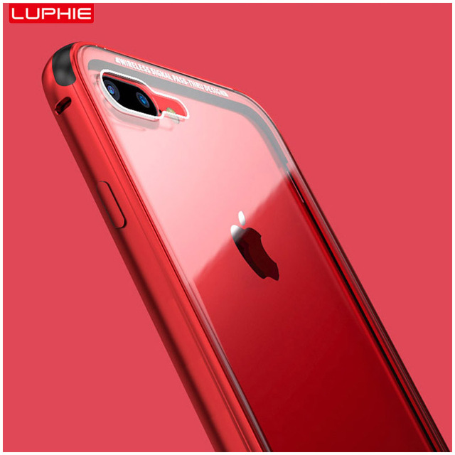3289a24c328 LUPHIE High-end Aluminium Alloy Bumper Frame 9H Glass Case for iphone 8  8plus 6 7 Plus Tempered Glass Transparent Phone Cover