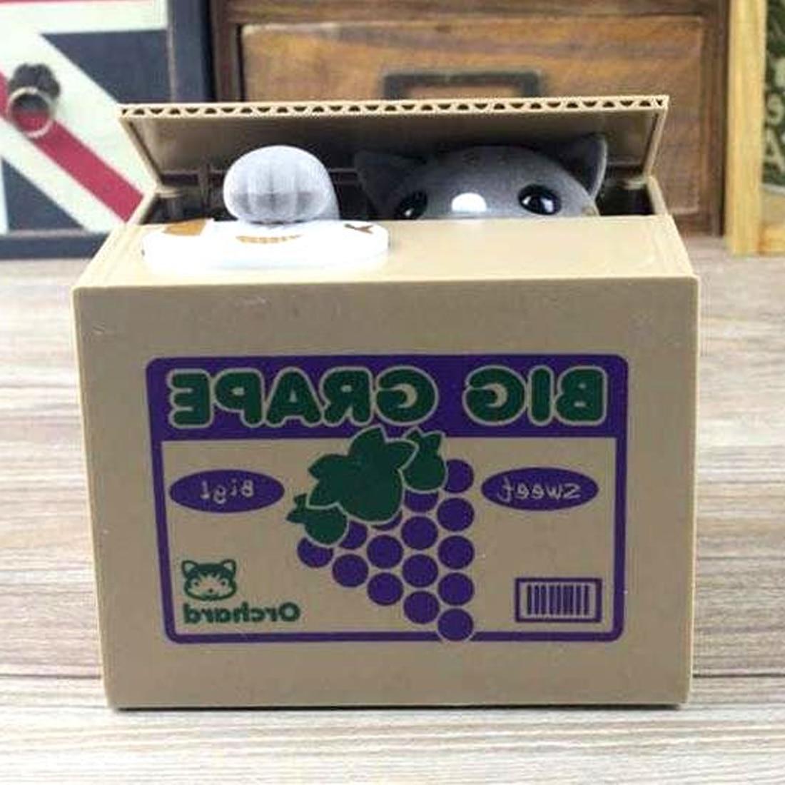 New Super Cute Adorable Cat Stealing Piggy Bank Cat Eat Creative Money Box Safe Box Safes Saving Money Coin Bank Gifts for Kids