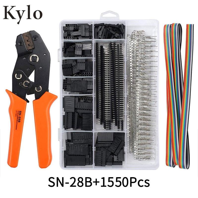 SN-28B+1550Pcs Dupont Crimping Tool Pliers Terminal Ferrule Crimper Wire Hand Tool Set Terminals Clamp Kit Tool