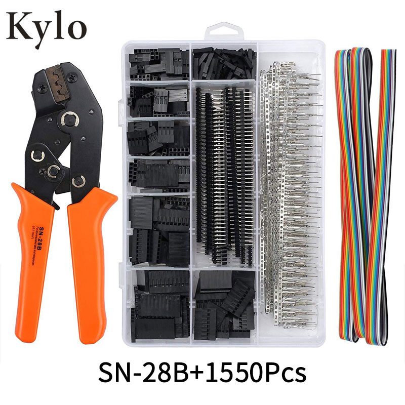 SN-28B+1550Pcs Dupont Crimping Tool Pliers Terminal Ferrule Crimper Wire Hand Tool Set Terminals Clamp Kit Tool