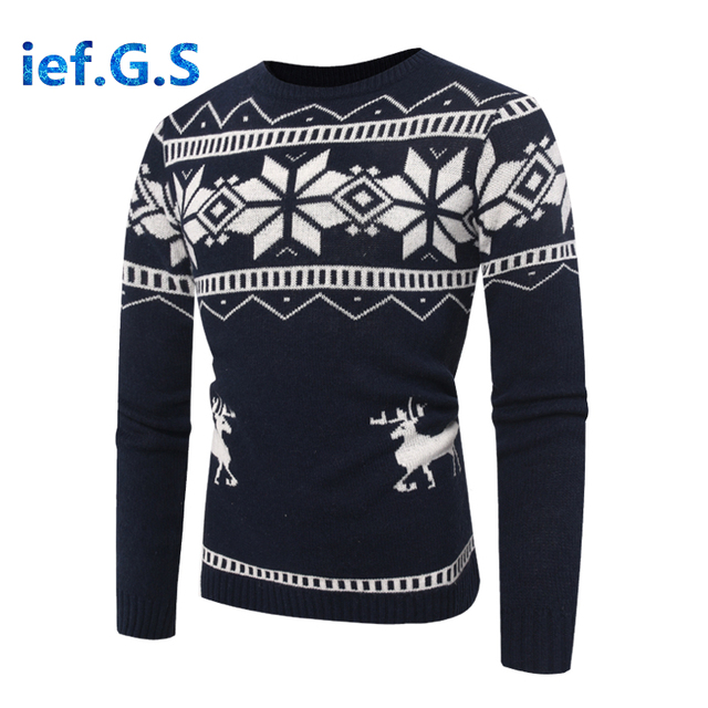 2018 New Men's Fawn Printed Round Neck Slim Pullover Sweater Fashion Men Cotton Long Sleeve Sweater Male For Autumn Winter M-2XL