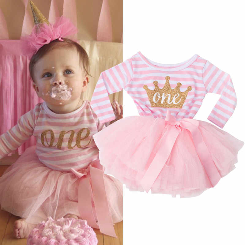 First Years Baby Girls Birthday Outfit Long Sleeve Striped Tutu Dresses For Babies Toddler litter Princess Christening Clothes