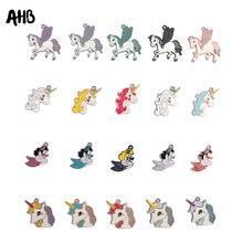 AHB 5Pcs/Set Mixed Color Alloy Fittings Charm Unicorn Mermaid Accessories Phone Case Decor Hair Embellishment Supply